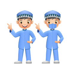 cute two muslim boys pointing his finger up with f vector image