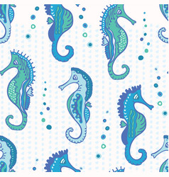detailed pastel blue seahorses and bubbles pattern vector image