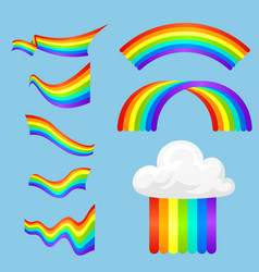 different style rainbow color strips after rain vector image