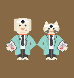 Dog And Cat In Doctor Uniform vector
