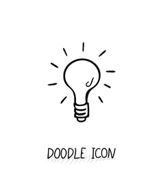 Doodle icon of light bulb vector image