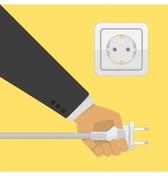 Electric power plug holding in hand vector image