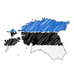 estonia map hand drawn sketch concept vector image