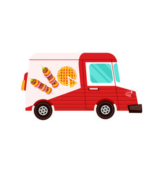 Fast food delivery truck icon vector