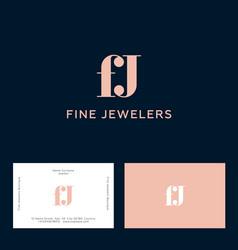 fine jewelers f and j monogram pink vector image