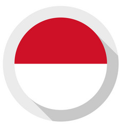 Flag indonesia round shape icon on white vector