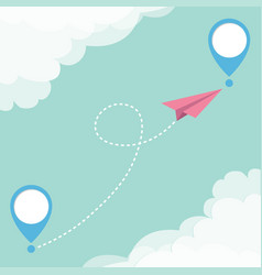 flying origami paper plane and geolocation mark vector image