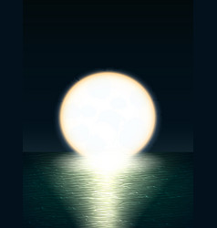 Giant yellow full moon over the sea at sunset or vector