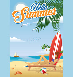 girl sunbathing at beach in summer vector image