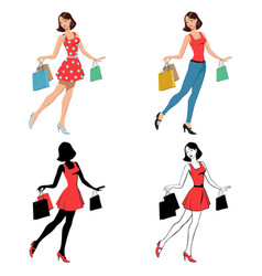 girl with bag shopping vector image