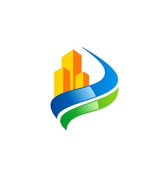 Green health building construction logo vector
