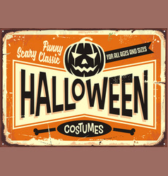 halloween costumes shop vintage advertising sign vector image