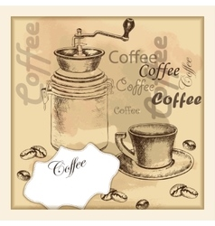 Hand-drawing sketch coffe set on old background vector