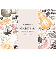 hand sketched autumn design in color elegant vector image