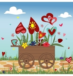 Hand truck with hearts on sky background vector image