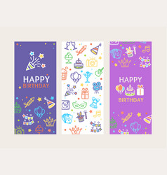 happy birthday banner poster card ad vertical set vector image