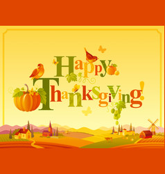 happy thanksgiving autumn logo with seasonal icons vector image