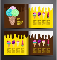 Ice cream brochure design Menu for ice cream shop vector image