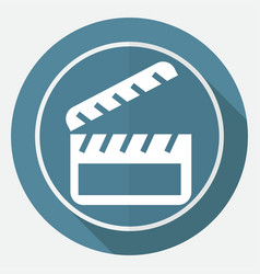 icon cinema on white circle with a long shadow vector image