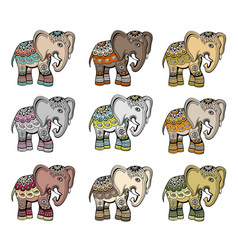 indian ethnic elephant set vector image