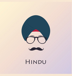indian man with black mustache and glasses vector image