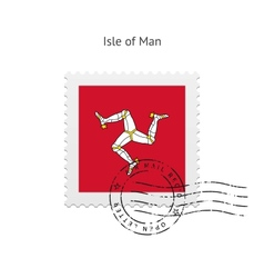 Isle of Man Flag Postage Stamp vector image