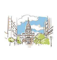 lansing michigan america sketch city line art vector image