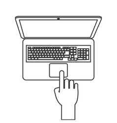 laptop topview with hand icon line design vector image