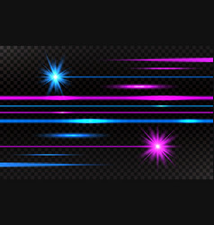 laser beams set pink and blue horizontal light vector image