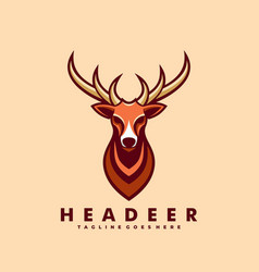 Logo head deer simple mascot style vector