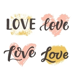 Love hand drawn brush lettering collection vector