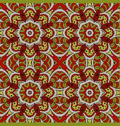 Mandala doodle drawing colorful floral seamless vector