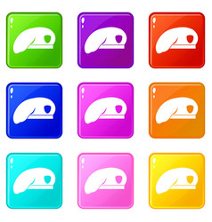 military beret icons 9 set vector image