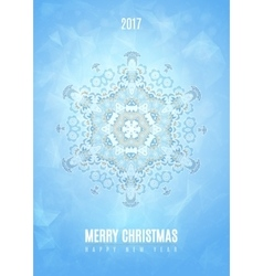 Modern christmas fancy winter snowflake card vector