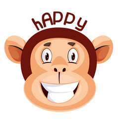 monkey is feeling happy on white background vector image