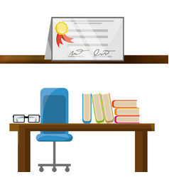 Office with diploma and study tools vector