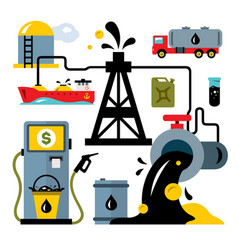 oil industry delivery vehicles flat style vector image