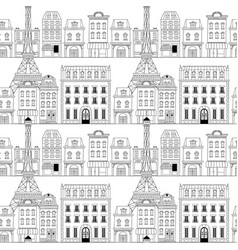 paris city doodle seamless pattern background vector image