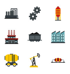 petroleum industry technology icons set flat style vector image