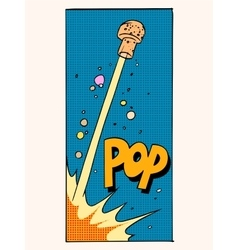 Pop open champagne cork holiday celebration vector