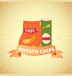 Pouch potato chips with banner on retro vector