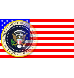 Presidential seal on flag vector