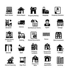 real estate glyph icons 2 vector image