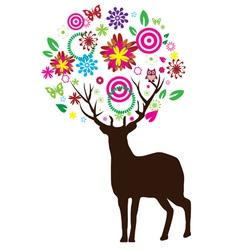 Reindeer floral vector