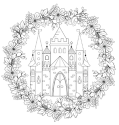 Relaxing coloring page with fairy castle in forest vector image