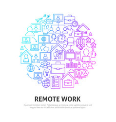 remote work circle concept vector image