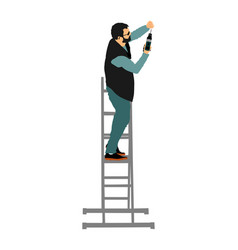 Repairman with cordless drill in hand on ladder vector