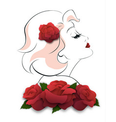 Romantic woman keep her head up pose vector