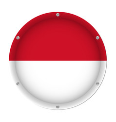 round metallic flag of indonesia with screws vector image