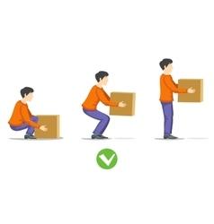 Safety correct lifting heavy box vector